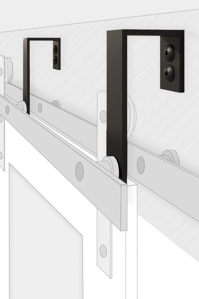 Bypass wall bracket for sliding doors