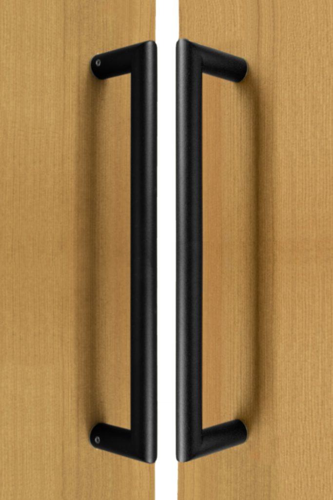 Sliding door handle set black KADA