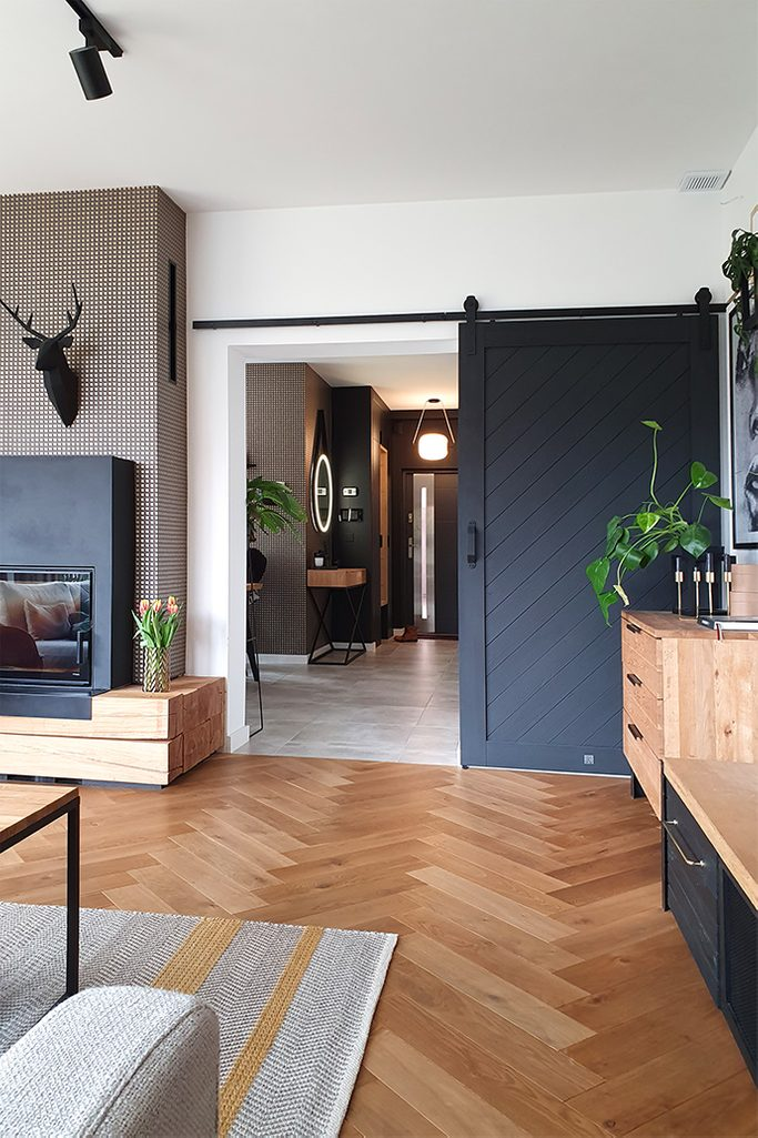 Black Wooden Sliding Door In The Living Room Reno Doors