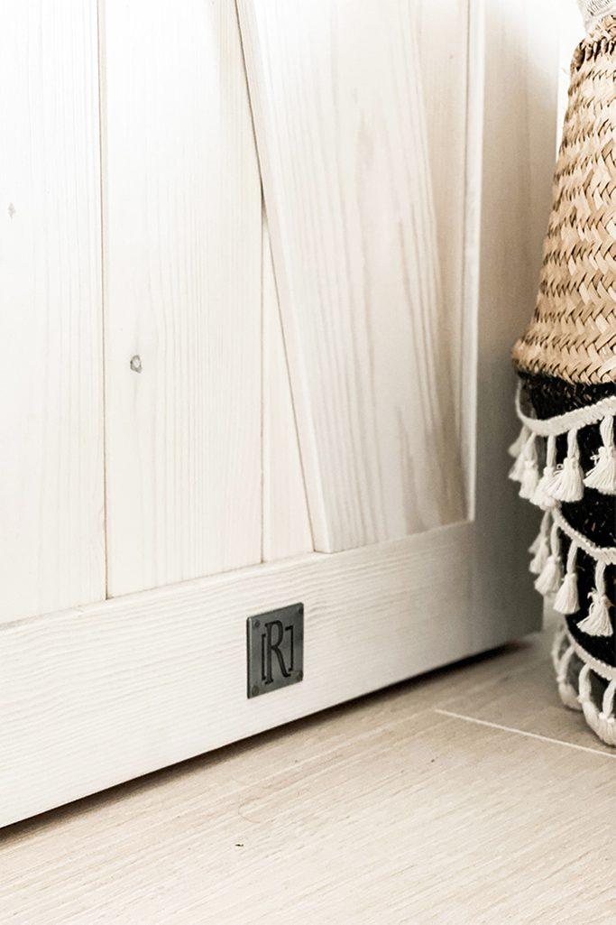 wooden sliding doors, narrow sliding doors, rustic white in the bedroom