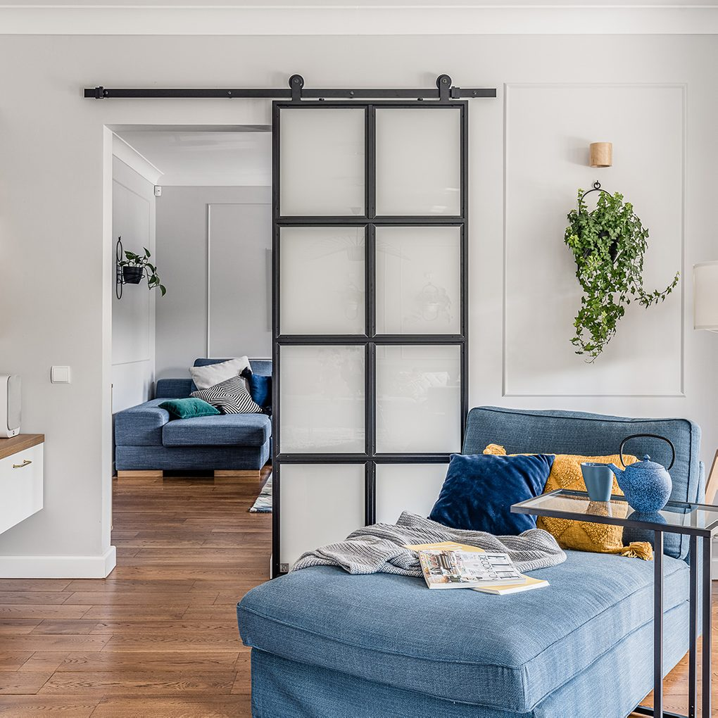 reading corner, blue denim sofa, sliding metal and glass door, industrial door, bright space, blue and yellow decorative pillows, wall flowerbed