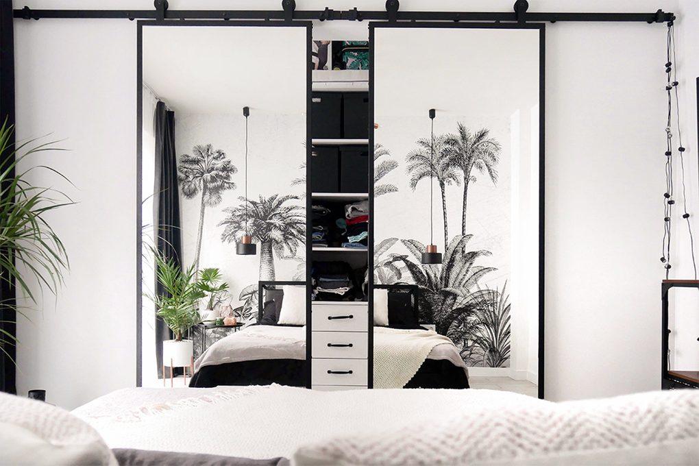 Double Sliding Door With Mirror In A Modern Bedroom Reno Doors